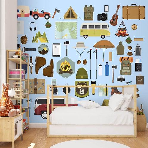 Travel Theme Kids Room Wallpaper Design, Customised