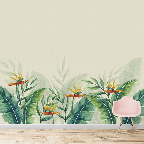 Tropical Wallpaper,  Flower of Paradise, Big Green Leaves