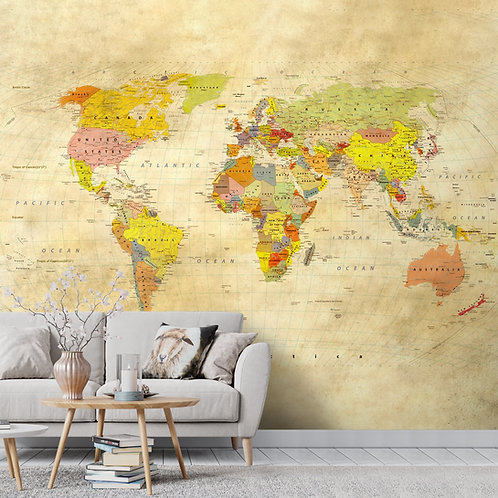 Premium Vintage World Map Wallpaper, Homes & Offices