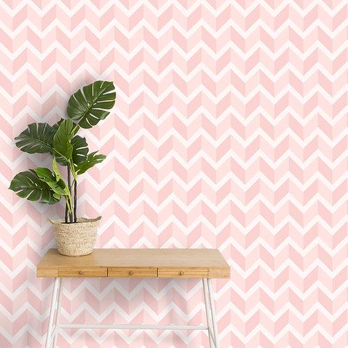 3D Chevron Wallpaper, Pastel Pink, Customised