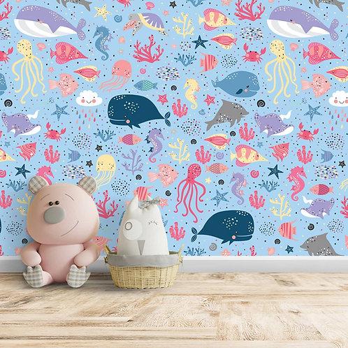 Whale, Fish, Octopus, Jellyfish, Sea Animals Wallpaper, Customise
