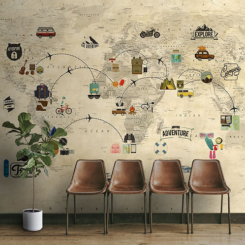 Travel Theme World Map for Kids Rooms