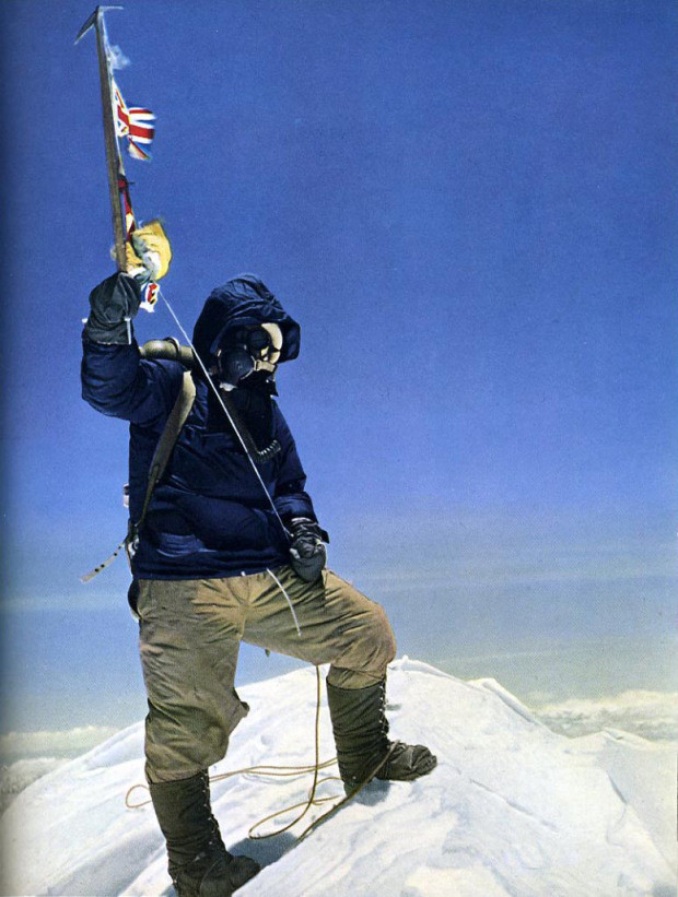 Tenzing Norgay on the top of Mount Everest (1953) Credits: Peter Hillary