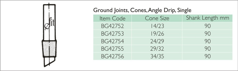35-5 GROUND JOINTS, CONES, ANGLE DRIP, S