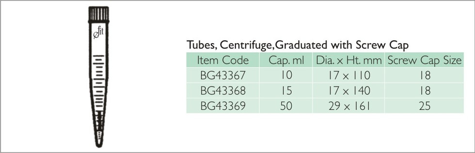41-7 TUBES, CENTRIFUGE, GRADUATED WITH S