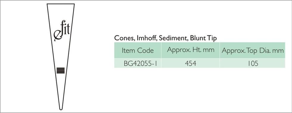 13-2 CONES, IMHOFF, SEDIMENT, BLUNT TIP.