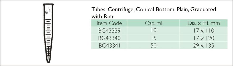 41-3 TUBES, CENTRIFUGE, CONICAL BOTTOM,