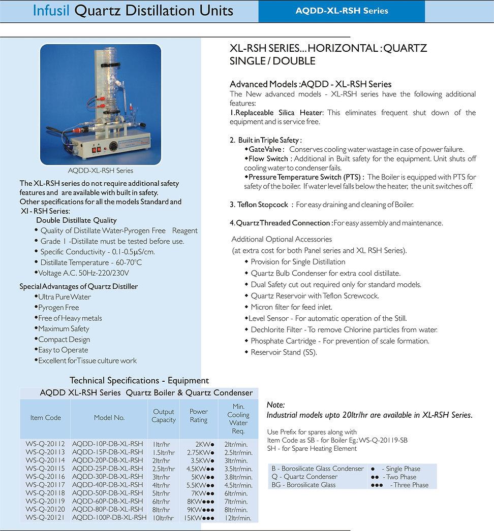 All Quartz Double Distiller XL-RSH Serie
