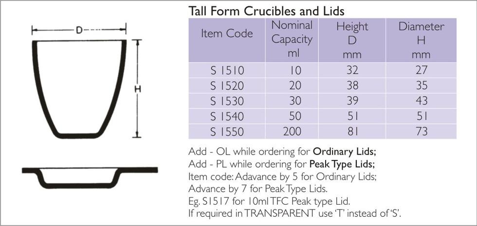 Tall Form Crucible
