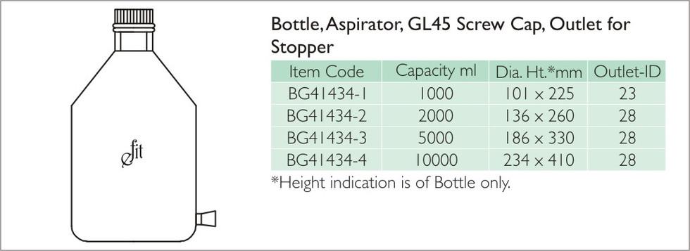 3-4 BOTTLE, ASPIRATOR, GL45 SCREW CAP OU