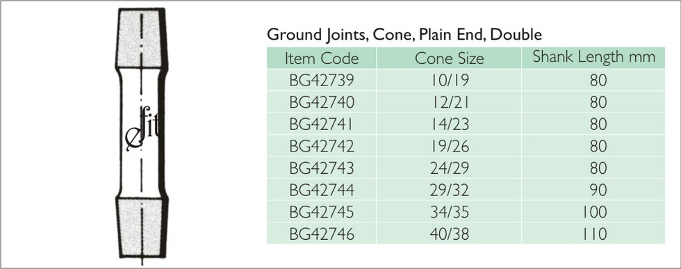 35-4 GROUND JOINTS, CONE, PLAIN END, DOU