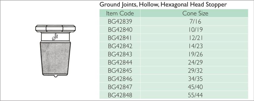 35-11 GROUND JOINTS, HOLLOW, HEXAGONAL H