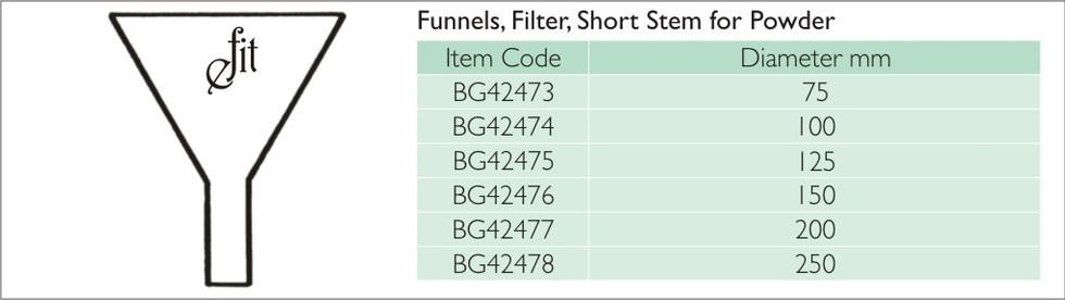 31-3 FUNNELS, FILTER, SHORT STEM FOR POW