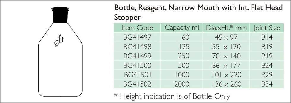 6-1 BOTTLE, REAGENT, NARROW MOUTH WITH I