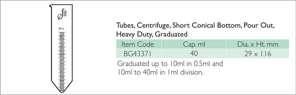 41-9 TUBES, CENTRIFUGE, SHORT, CONICAL B