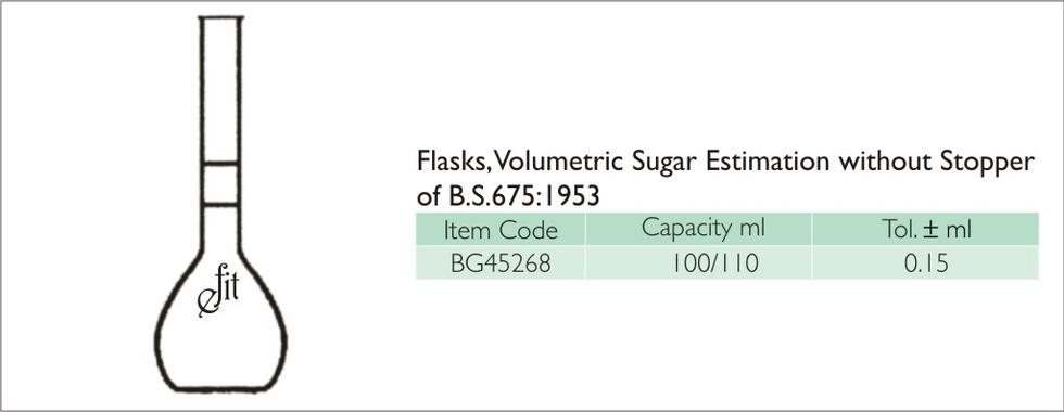 68-1 VOLUMETRIC FLASK, SUGAR ESTIMATION.
