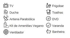 Amenidades Ducha Kit de Amenities Vegano Ventilador Frigobar Toalhas DVD Varanda Ducha TV