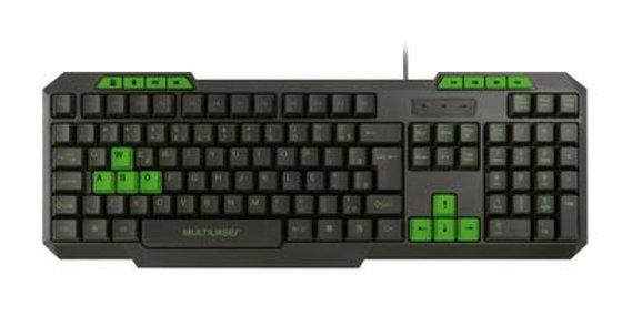 Teclado Gamer Com Hotkeys Multimidia Slim Preto/Verde - Multilaser
