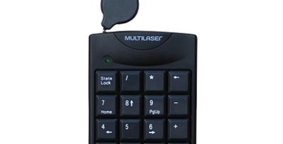 Teclado Numérico com Cabo Retrátil USB Preto Multilaser