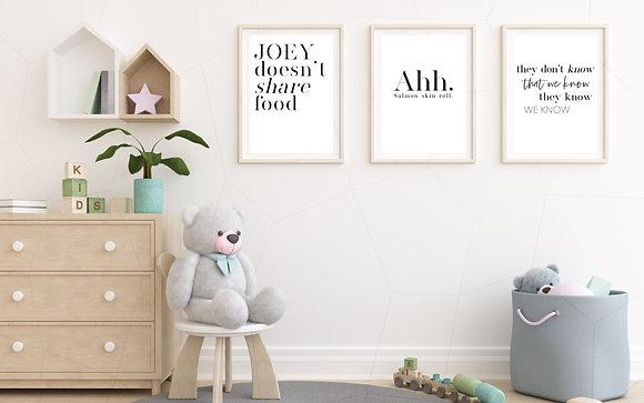 FRIENDS trio of prints