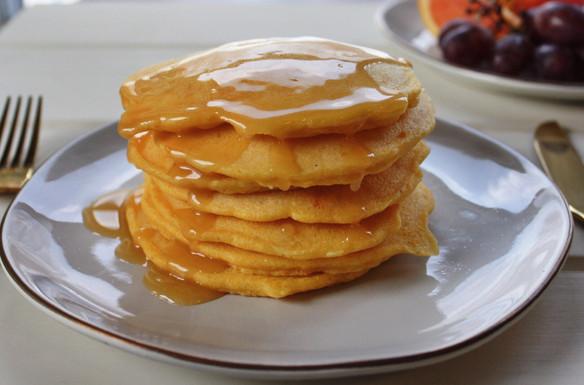 Corn Pancakes + Orange Maple Butter.