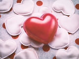 Red love heart on hearts