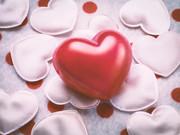 Red love hart op hart