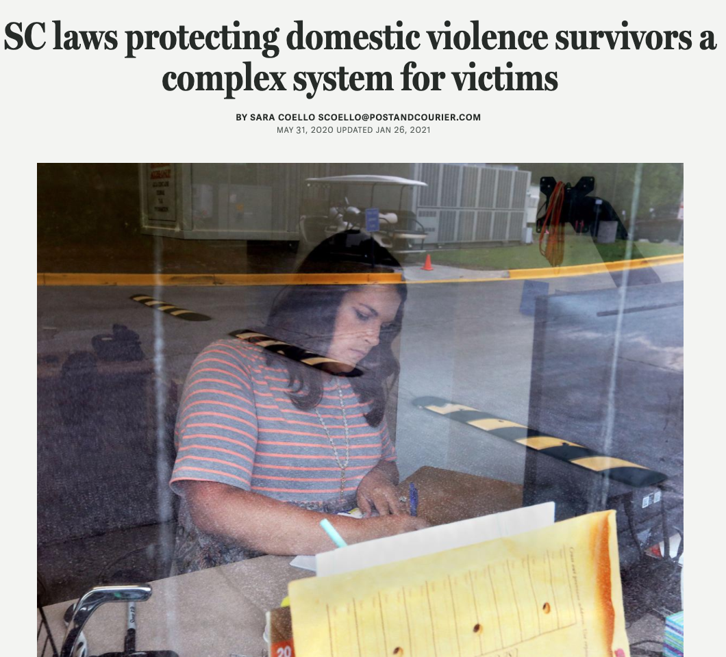 Post & Courier: SC laws protecting domestic violence survivors a complex system for victims