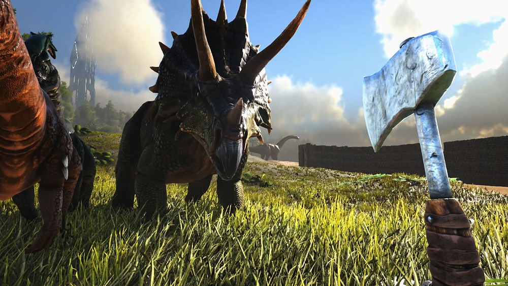 ark survival evolved dinosaurs in a field with blue sky