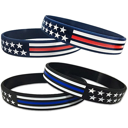 USA America Flag Red Blue White Thin Line Silicone Rubber Bracelet Wristband