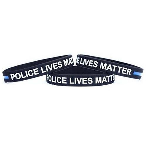 Police Lives Matter Wristbands Black Thin Blue Line Silicone Rubber Bracelets