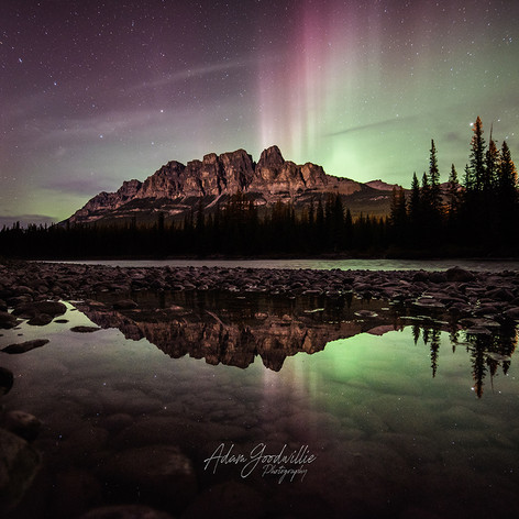 Castle Mountain Northern Lights Beams
