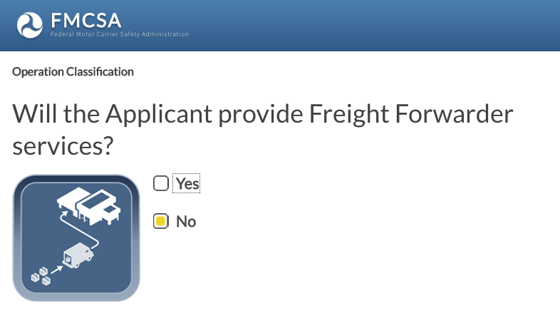 Be sure to click NO here if you're only applying for motor carrier!