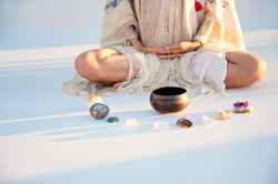 meditating singing bowl crystals