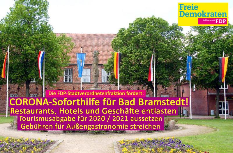 Die FDP-Stadtverordnetenfraktion fordert: Corona-Soforthilfe für Bad Bramstedt! Restaurants, Hotels und Geschäfte entlasten. Tourismusabgabe für 2020/201 absetzen und Gebühren für Außengastronomie streichen