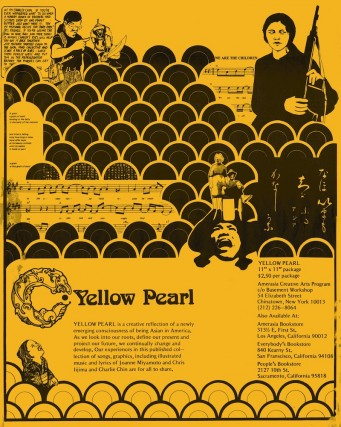 black on yellow poster with various visual elements including a scallop pattern; illustrations of and by Asian Americans; sheet music; details where the artbook can be purchased.