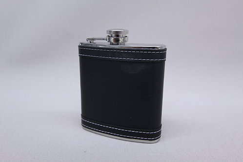 Classic Black Leather Wrapped Flask