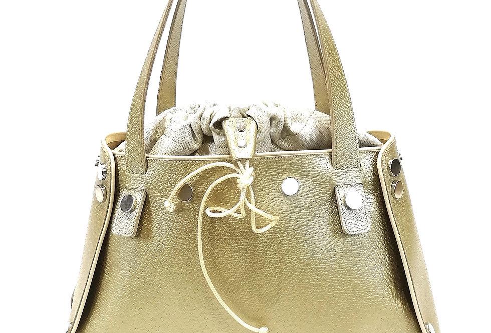 borsa grande in pelle oro stampata