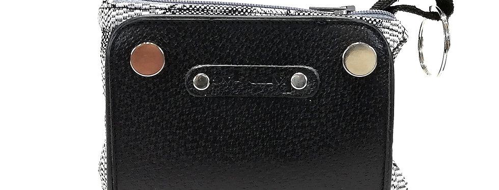 Portachiavi  zip in pelle nera stampata