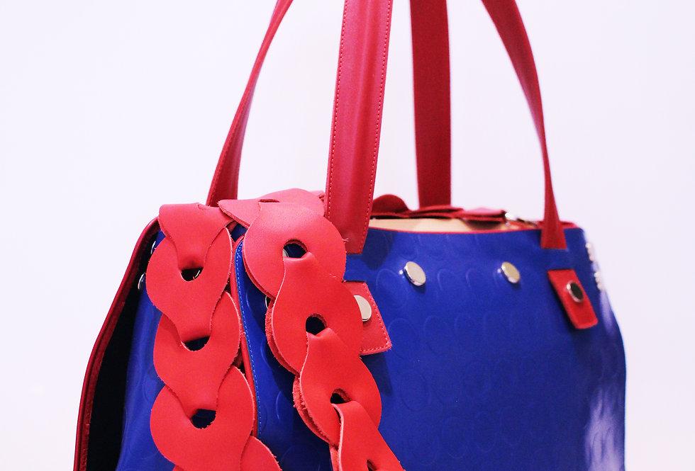 PattyBag grande Blu bordo rosso