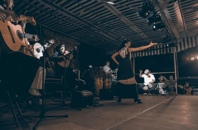 animation repas espagnol, musicien et danseuse flamenco, rumba catalane guitariste, France, gard.