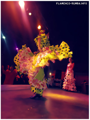 robe flamenco jaune, danseuse spectacle flamenco rumba