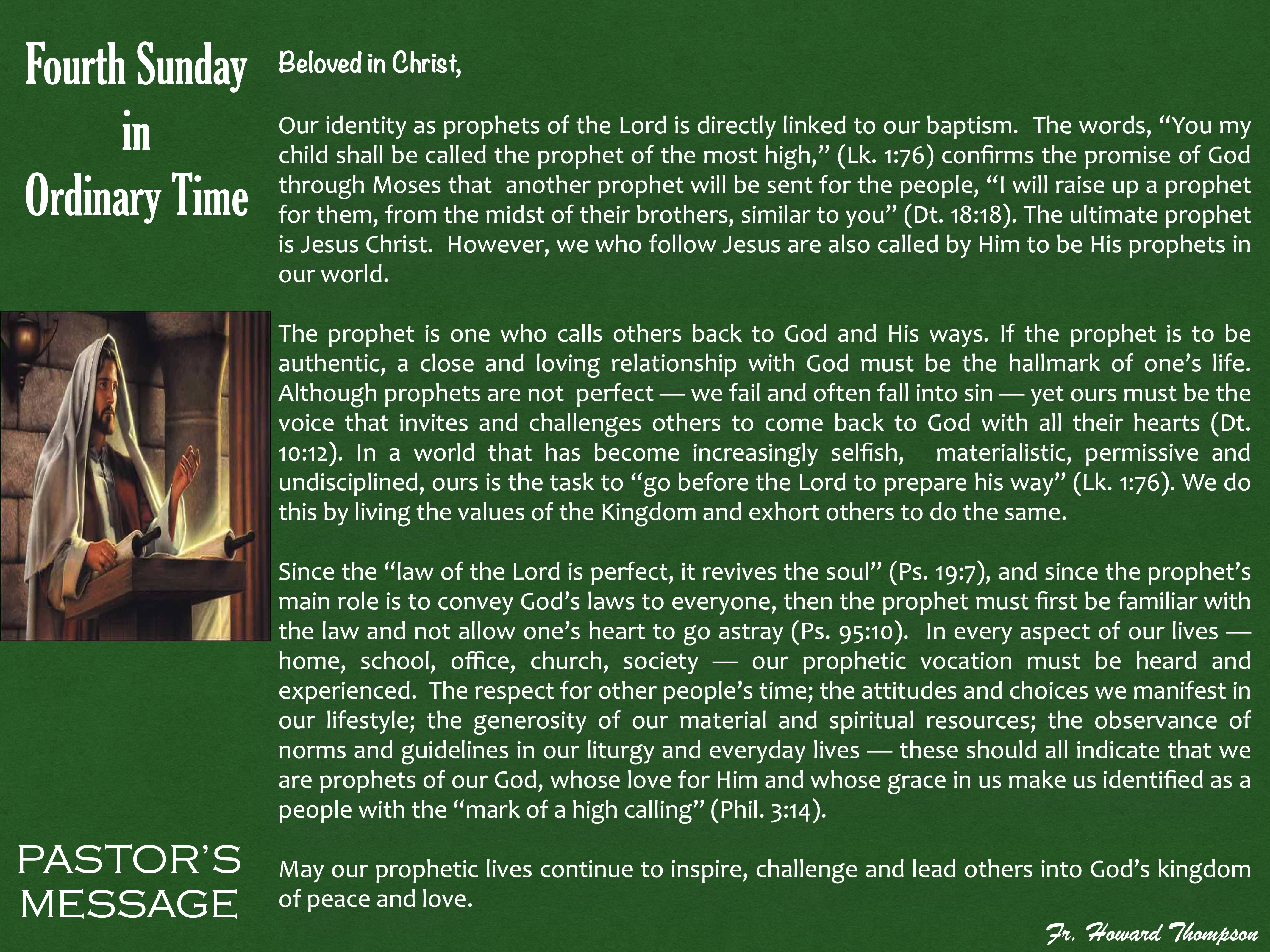 Pastor's Message - 149 Fourth Sunday in