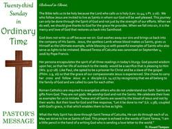 Pastor's Message - 80 Twenty-third Sunda