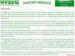 Pastor's Message - 28 Twenty-second Sund