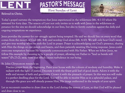 Pastor's Message - 01 Sunday of Lent