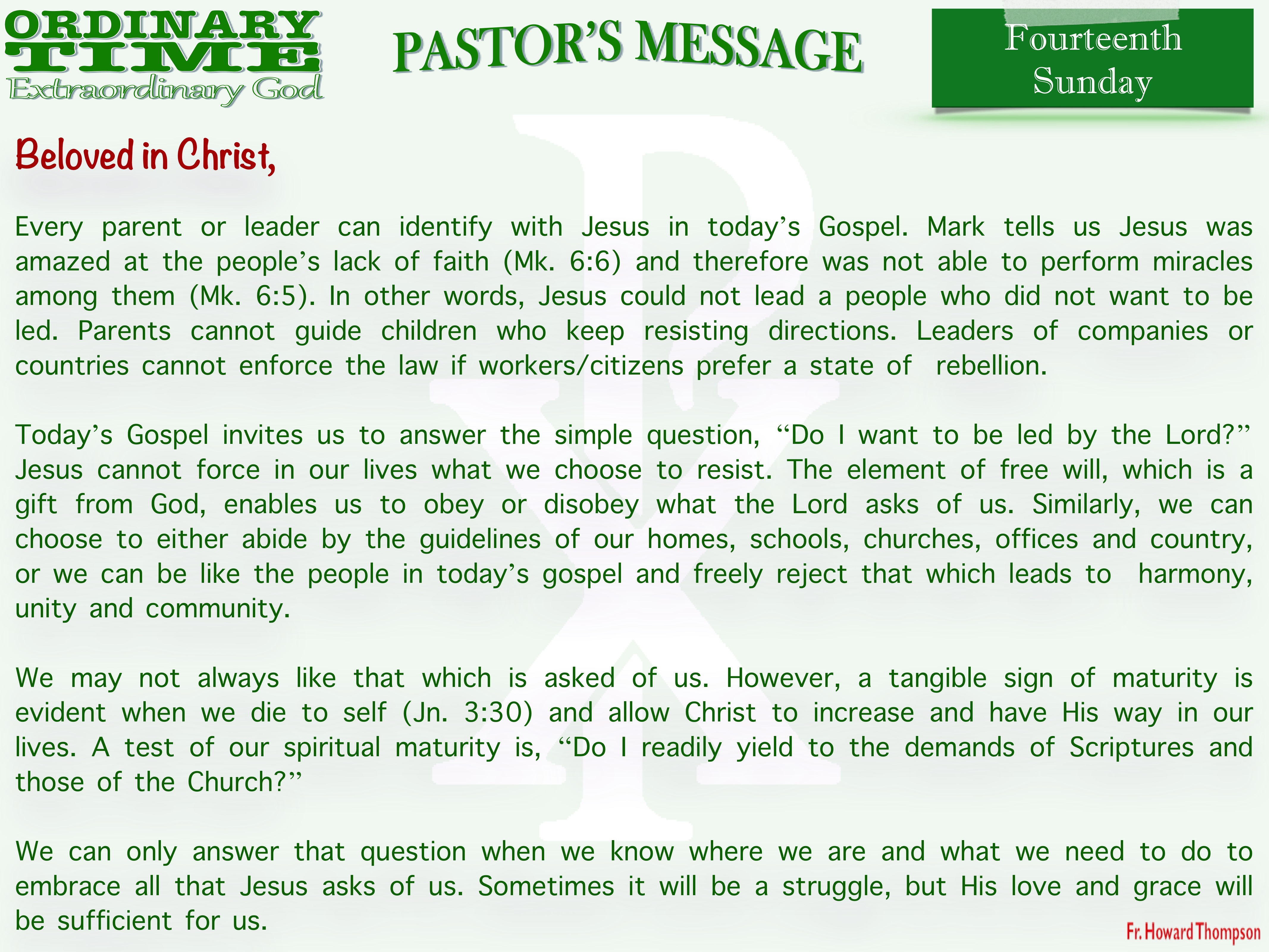 Pastor's Message - 23 Fourteenth Sunday in Ordinary Time_001
