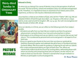 Pastor's Message - 138 Thirty-third Sund