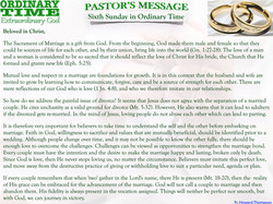 Pastor's Message - 06 Sunday in Ordinary Time