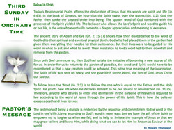Pastor's Message - 49 Third Sunday in Or